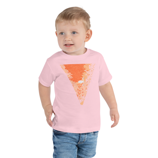 Toddler Short Sleeve Tee Sunset Pond Swan Reflection