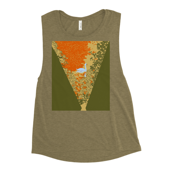 Ladies' Muscle Tank Sunset Pond Swan Reflection