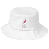Old School Bucket Hat Embroidery Love Kitty