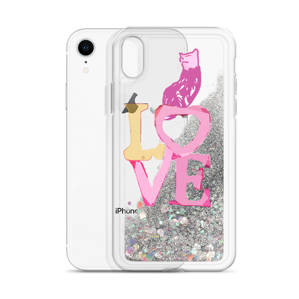 Liquid Glitter Phone Case Love Kitty iphone
