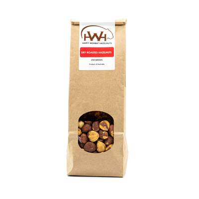 Happy Wombat Dry Roasted Hazelnuts 250g