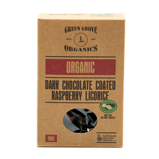 Dark Chocolate Coated Raspberry Licorice 180g