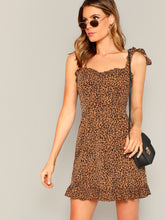 Load image into Gallery viewer, Tie Shoulder Frill Detail Leopard Cami Dress