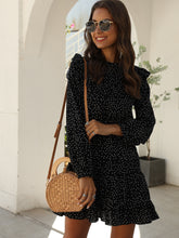 Load image into Gallery viewer, Polka Dot Print Ruffle Hem Dress