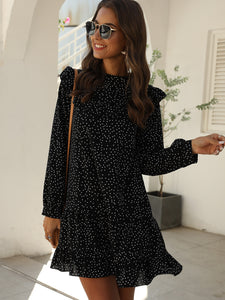 Polka Dot Print Ruffle Hem Dress