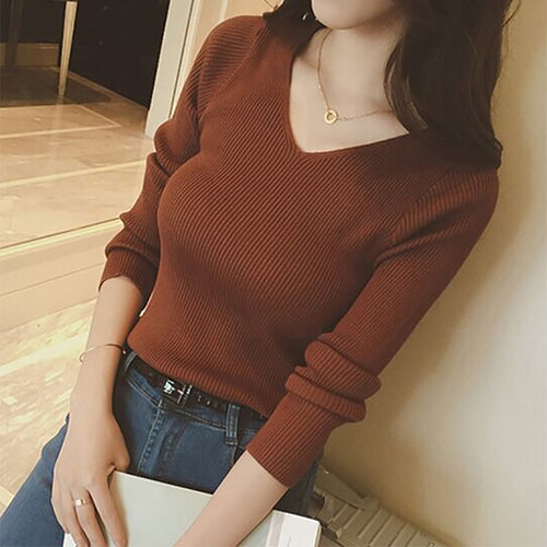 Autumn V Neck Sweater Knitted Fashion Womens Sweaters