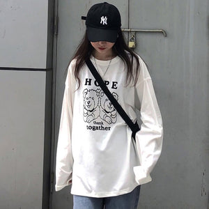 korean kawaii yellow T Shirt Women long Sleeve O Neck T-shirts
