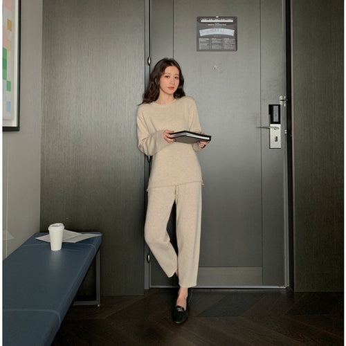 Women Sweater Two Piece knitted Sets Slim Tracksuit  Spring Autumn
