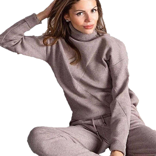 Woman Sweater Suits Casual  Knit Tracksuit Turtleneck Pullovers+pants