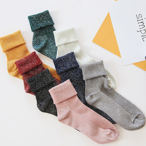 Woman Simple Socks Fashion Art Fold Female Student Thick Warm Socks