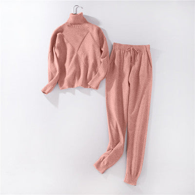 Autumn winter Knitted tracksuit Turtleneck sweatshirts Casual Suit Women