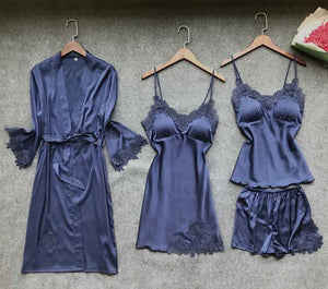 Sexy Women's Robe & Gown Sets Lace Bathrobe + Night Dress 4 Four Pieces Sleepwear