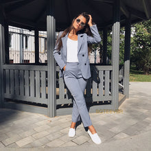 Load image into Gallery viewer, 2 Piece Sets Double Breasted Striped Blazer Jacket & Zipper Trousers Suit For Women