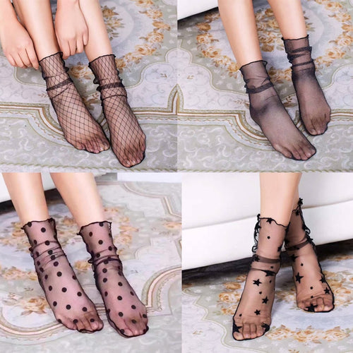 Retro Lace Floral Mesh Women Girl Socks Elastic Fashion Lady Soft Short Socks
