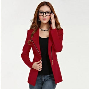 Women Office Lady Zipper Blazer Suit Slim Fit Lapel Jacket Tops Coat