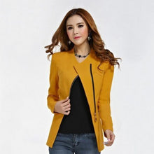 Load image into Gallery viewer, Women Office Lady Zipper Blazer Suit Slim Fit Lapel Jacket Tops Coat