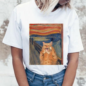 Cat Casual Short Sleeve T Shirt for Women Harajuku New Summer T-shirt Kawaii Cats