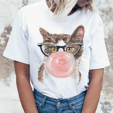 Load image into Gallery viewer, Cat Casual Short Sleeve T Shirt for Women Harajuku New Summer T-shirt Kawaii Cats