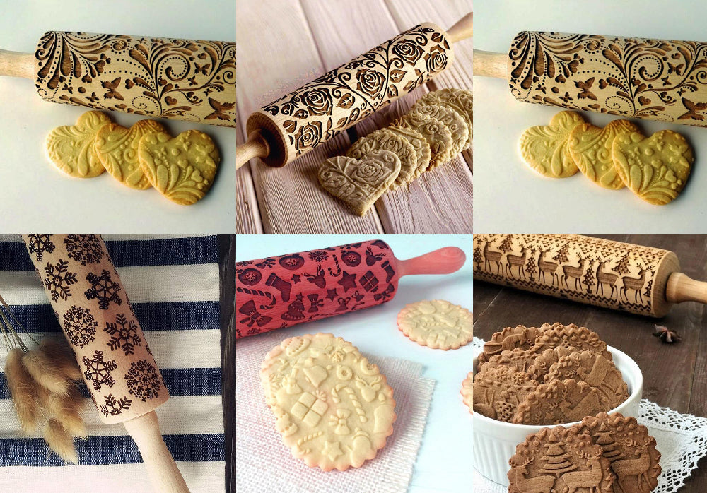 Christmas Embossed Cookie Rolling Pin