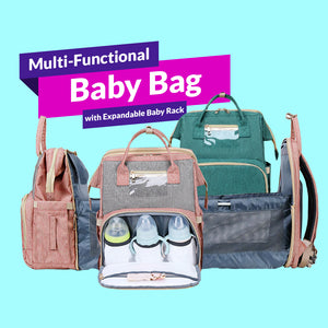 Multi-Functional Baby Bag with Expandable Baby Rack