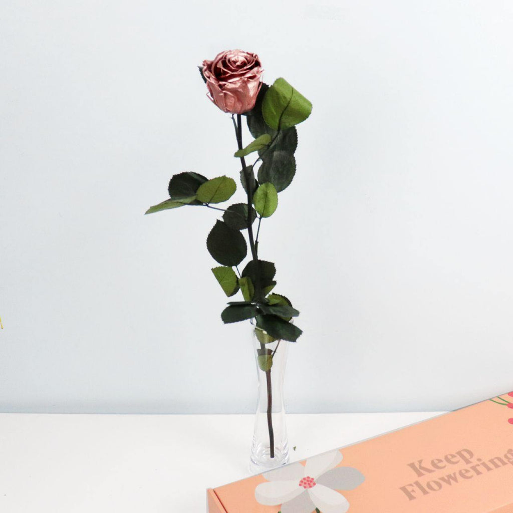 Preserved Rose - Metallic Rose Gold |  Single Stem - Flowers Across Australia