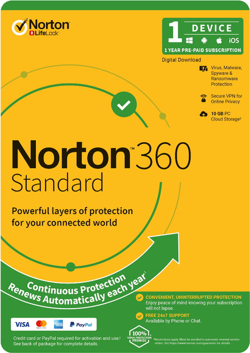 Norton 360 Standard Software, 1 User, 1 Device, 12 Months, OEM Edition