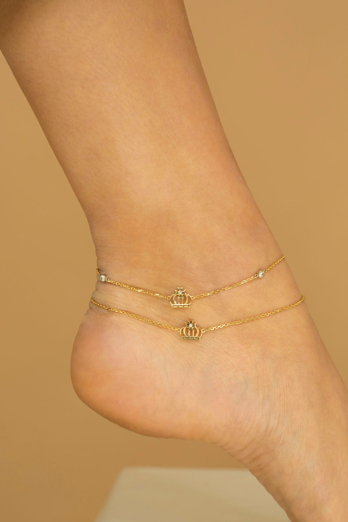 Yellow Gold Crown Anklet