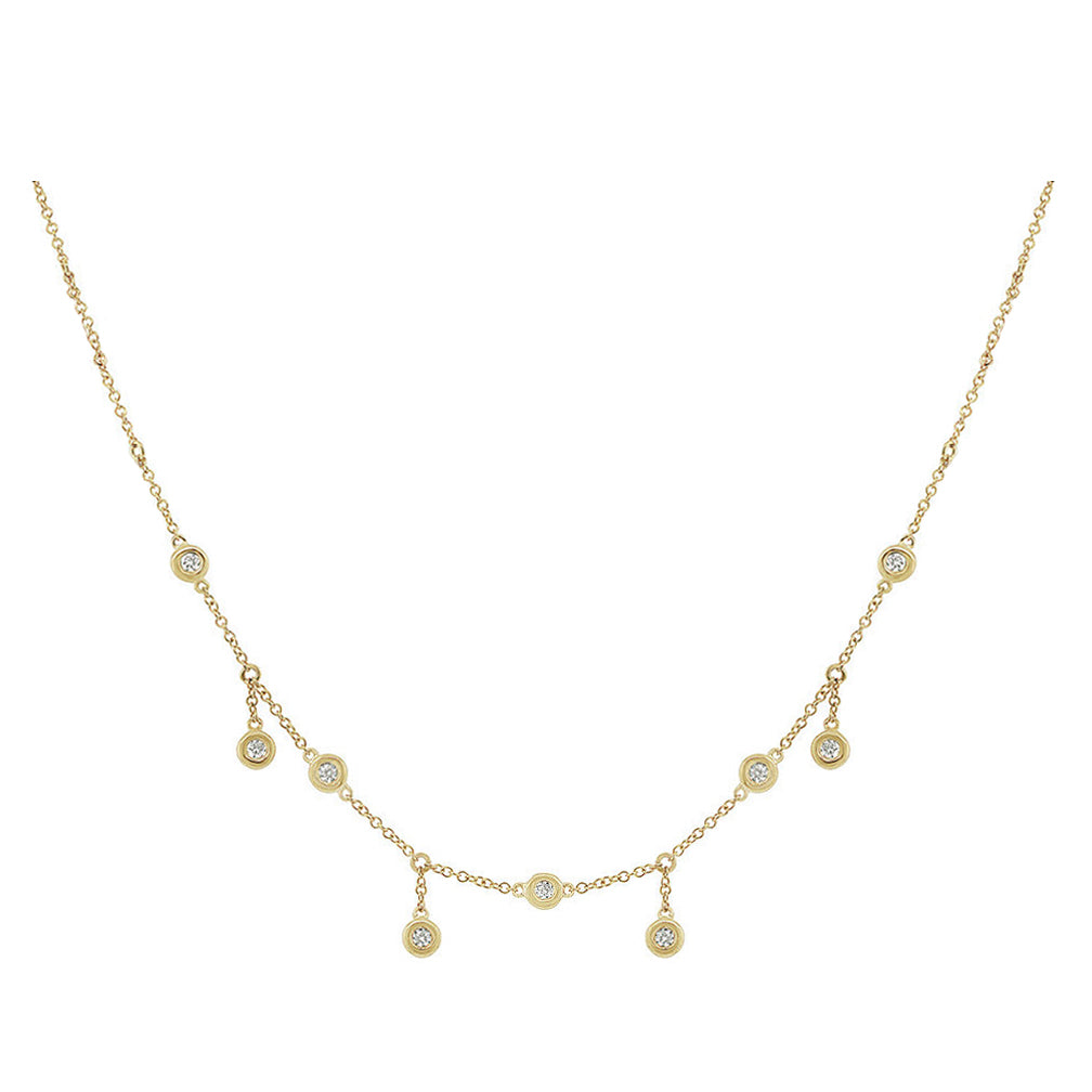 Alternating Diamond Drop | Yellow Gold