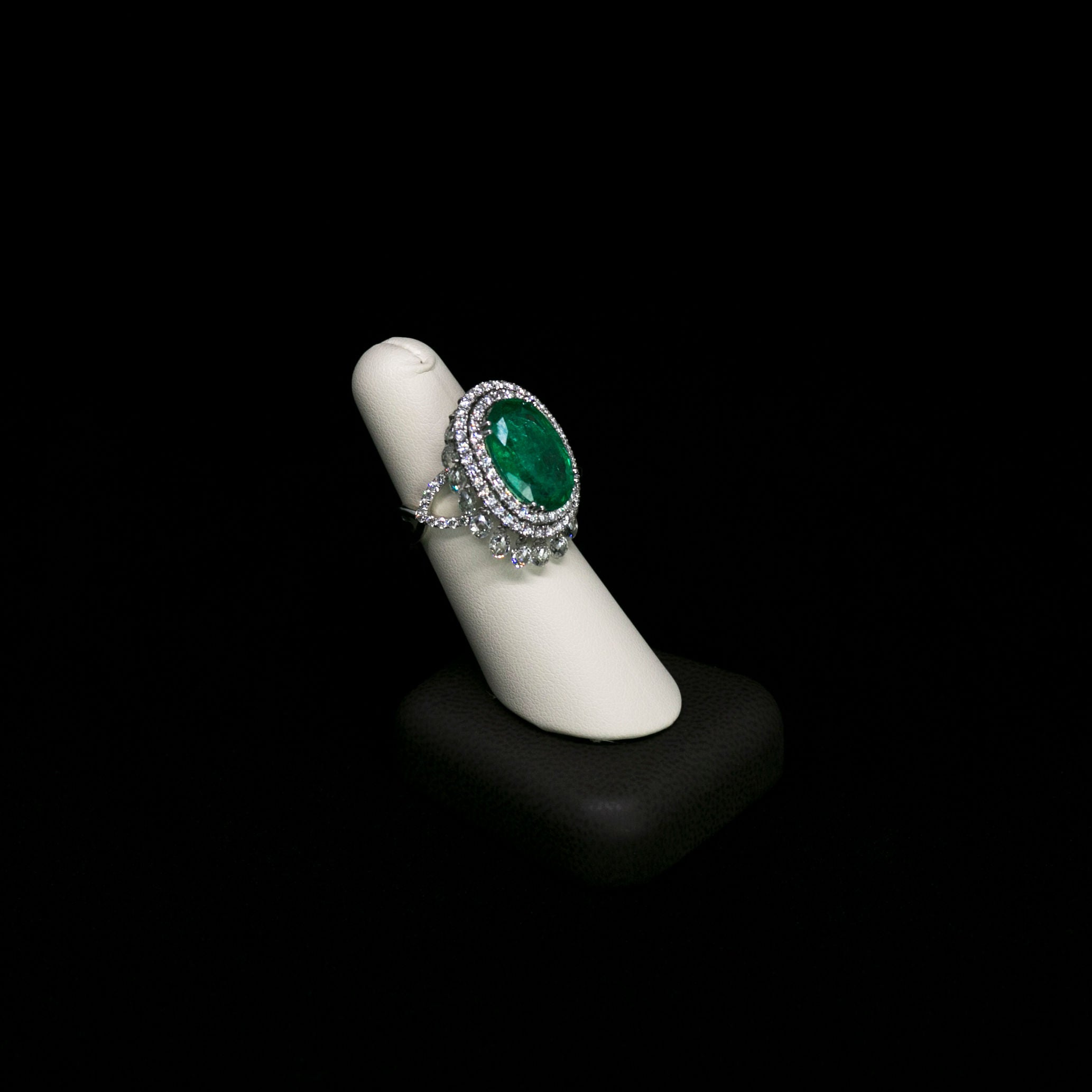 Henri Noël Jewelry oval emerald diamond vintage ring