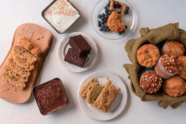Gluten free pastries and desserts from Nuflours bakery. Gluten free brownies, gluten free muffins, gluten free cake