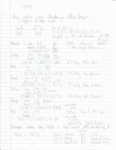 Notebook paper with calculations of soap batter portions using math