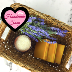 Handcrafted Soap in a rectangle wicker basket with lavender