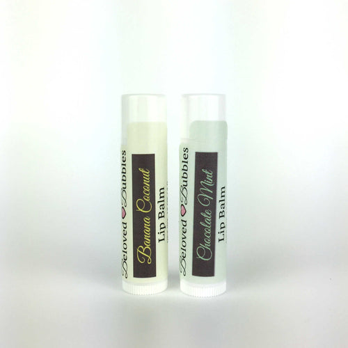 Lip balm in Chocolate Mint and Banana Coconut