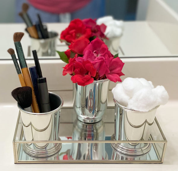 5 Ways To Use Your Silver Mint Julep Cups - Use as makeup organizers - Templeton Silver