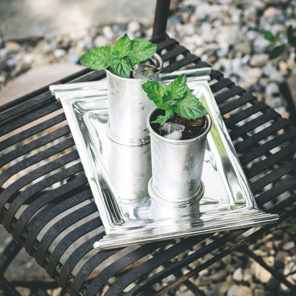 Silver Mint Julep Cups on a silver tray