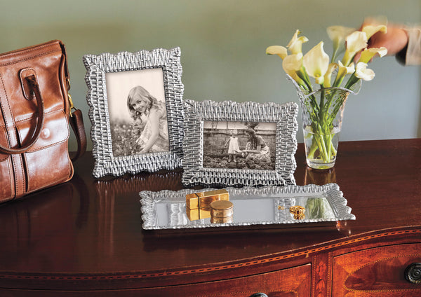 Vanity tray for keys and wallet with silver picture frames