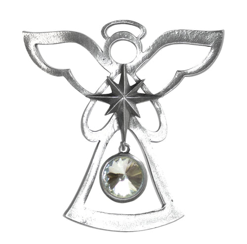 Silver Angel Ornament - April Birthstone