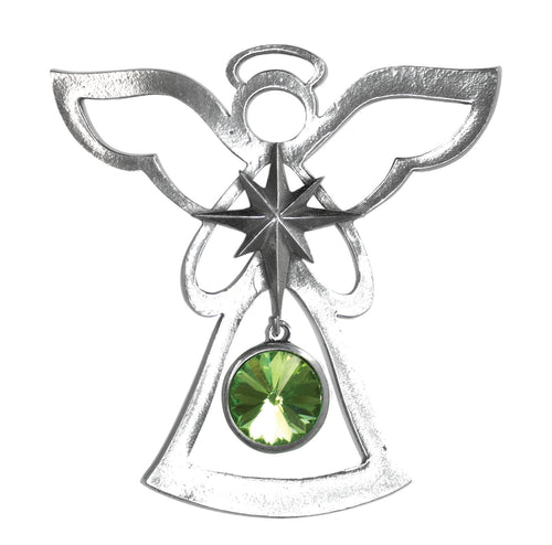 Silver Angel Ornament - August Birthstone