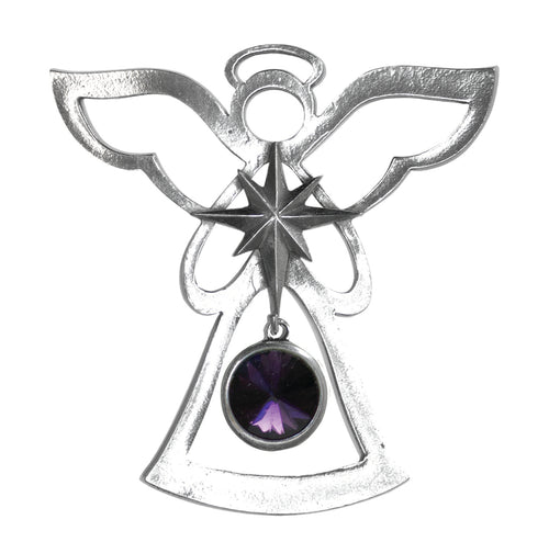 Silver Angel Ornament - February Birthstone
