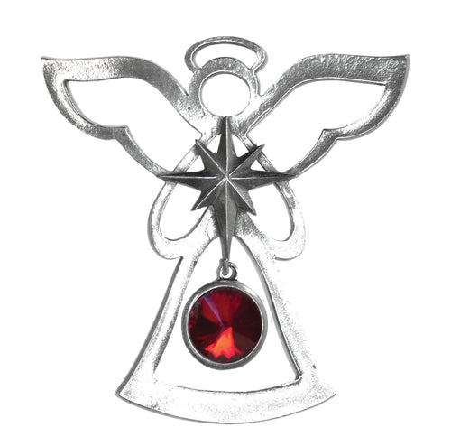 January Birthstone Silver Angel Ornament