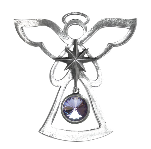 Silver Angel Ornament - June Birthstone