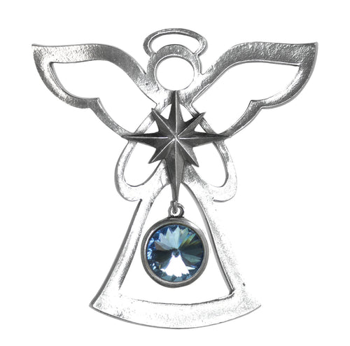 Silver Angel Ornament - March Birthstone