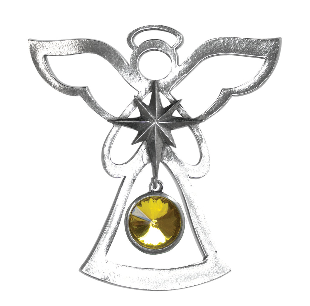 Silver Angel Ornament - November Birthstone