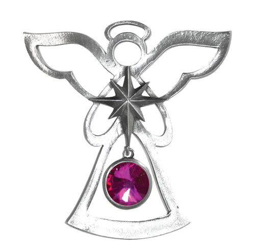 Silver Angel Ornament - October Birthstone
