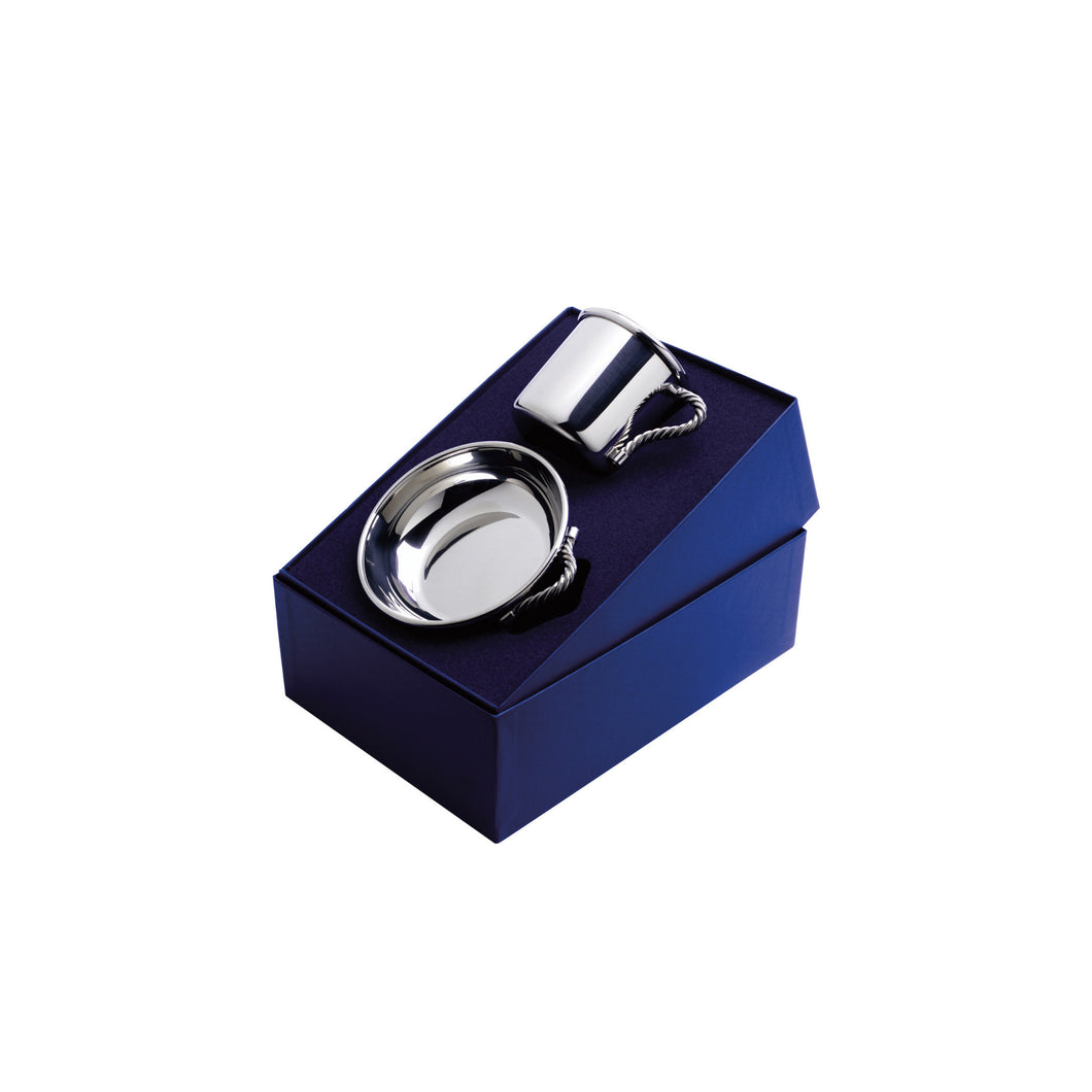 Silver Rope Handle Baby Cup and Porringer Gift Set