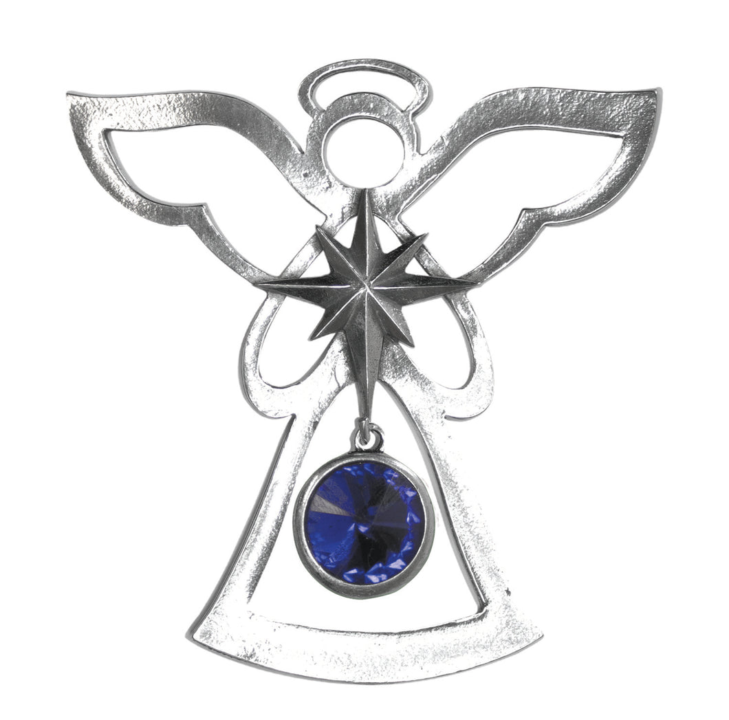 Silver Angel Ornament - September Birthstone