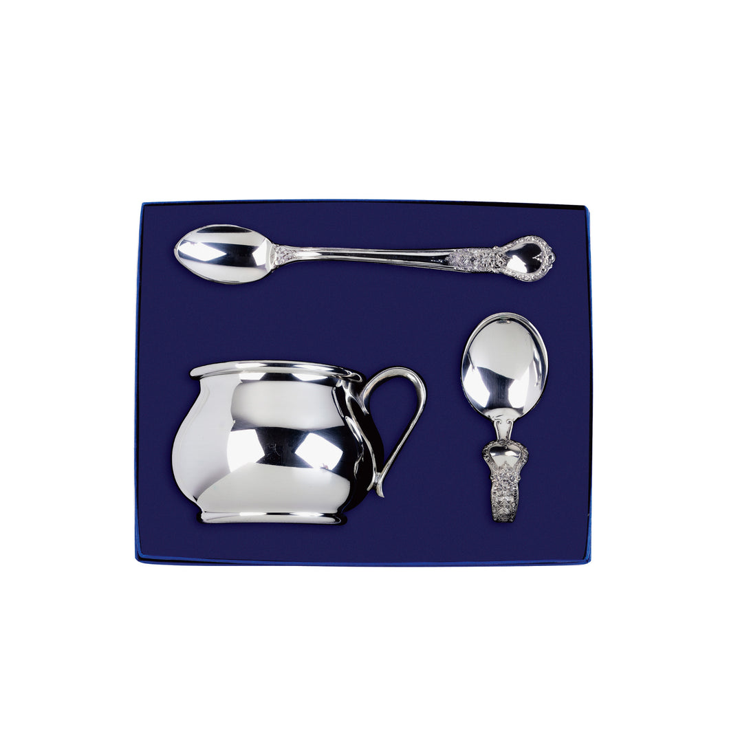 Silver Baby Cup and Baby Spoon Gift Set