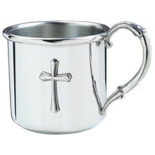 Load image into Gallery viewer, Silver Baby Cup with Cross 2