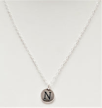Load image into Gallery viewer, Sterling-Silver-initial-charm-necklace-1-charm-templeton-silver