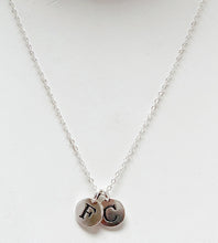 Load image into Gallery viewer, Sterling-Silver-initial-charm-necklace-2-charm-templeton-silver